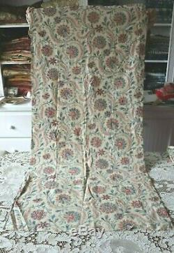 Rare Scrolly Indienne Hand Blocked French Antique c1820 Cotton Fabric53X25.5