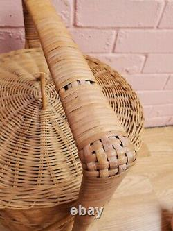 Rare Vintage Asian Chinese Wedding Sewing Storage Basket 3-tier Woven Wicker