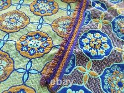 Rare Vintage King Size Reversible Welsh Wool Tapestry Blanket Throw Blues & Gold