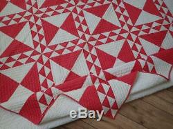 Rare to find in Red & White! Antique c1880-1900 Ocean Lady of the Lake QUILT