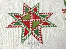 Red Green! 19th c Feathered Star QUILT Antique Leaf Berry Border