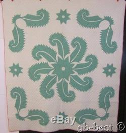 SHOW STOPPING c 1905 Princess Feather QUILT Applique Antique FINE QUILTING