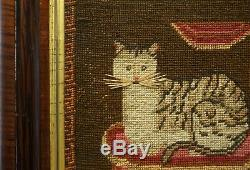 SMALL MID 19TH CENTURY NEEDLEPOINT OF A CAT ON A CUSHION INITIALLED EB c. 1850