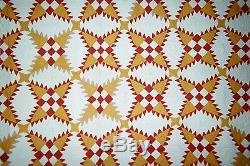 SNOWFLAKE Quilt 64 x 74, c1920's, Adirondack Co, NY Red/YellowithTan Cottons