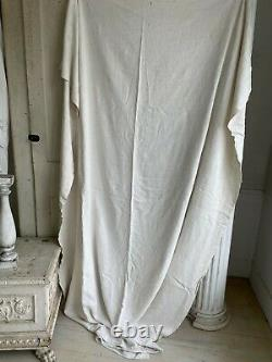 SOFT HEAVY antique French linen sheet NUBBY heavy 1800's textile vintage