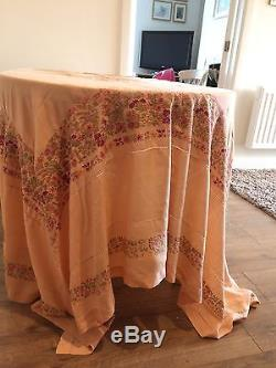Stunning Antique Vintage Silk Hand Embroidered Tablecloth Beautiful Flora  Pink