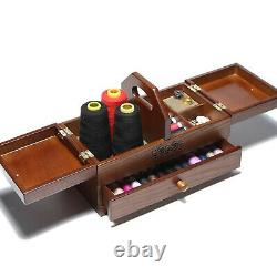 Sewing Basket Wooden Box Drawer with Compartments Storage Organizer for Jewelry