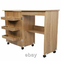 Sewing Table Foldable Craft Cart Wood Desk Storage Shelves Lockable Casters