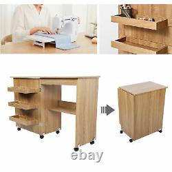 Sewing Table Kit Folding Craft Cart Wood Desk with Storage Shelves Accessories
