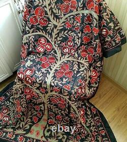 Silk suzani, Uzbek embroidered tapestry wall hanging, tribal tablecloth, bedspread