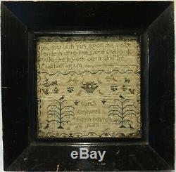 Small Early 19th Century Motif & Quotation Sampler By Sarah Colwell Born 1829