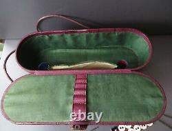 Small Leather Effect Travel Sewing Case / Miniature Trunk With Accessories A/f