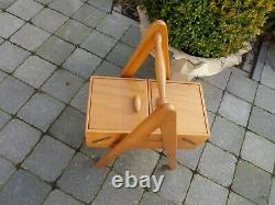 Small Vintage Danish Modern Sewing Box Basket Stand on Wheels