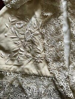 Stunning 19th C. Babies Baptism presentation Dress and Coat with Guipure Lace