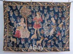 Stunning Large Flemish Medieval Style Tapestry 44 x 33 Spinning Wool e