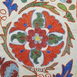 Suzani bedspread uzbek, blue red suzani wall hanging, hand embroidered tapestry