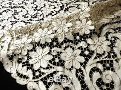 TABLE READY ALL CUTWORK Antique Madeira Hand Embroidery Linen Tablecloth 66x112
