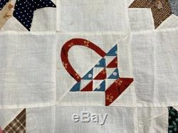TINY Baskets! C 1880s Goose Track QUILT Top Antique Browns Cheddar