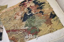 TWO 18th Century French Aubusson Verdure Tapestry Fragments