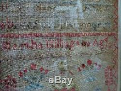 Tapestry Alphabet Sampler 174 years old dated 1843 Antique Vintage Embroidery
