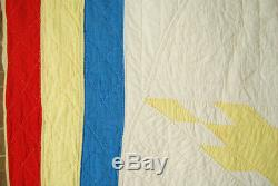 UNUSUAL COLORFUL Vintage EASTERN STAR Lone Star Antique Quilt RARE DESIGN