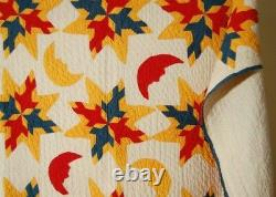 UNUSUAL Vintage 1890's Four Swallows Stars Man in the Moon Antique Quilt