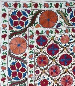Uzbek Multicolor Hand Embroidery Vintage Tablecloth Wall Decor Best Gift Suzani