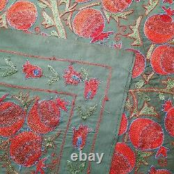 Uzbek green and red suzani. Tapestry wall hanging boho. Embroidered tree of life