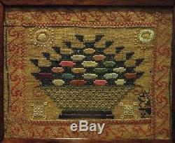 VERY SMALL EARLY 19TH CENTURY FRUIT BASKET SAMPLER c. 1830
