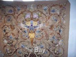 Victorian embroidered panel of flowers and birds