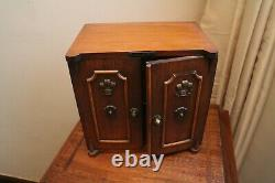 Victorian mahogany tea cabinet with the prince of wales cartouche