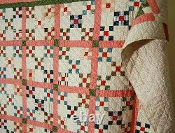 Vintage 1890's Double 9-Patch Burgoyne Surrounded Antique Quilt SMALL PIECES