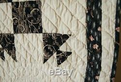 Vintage 1890's Shoofly Variation Antique Patchwork Quilt AMAZING QUILTING