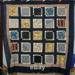 Vintage 1890s Sawtooth Delectable Mountain Antique Quilt Top NICE EARLY FABRIC