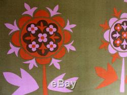 Vintage 1960s Fabric for Heals Olive Green, Pink and Orange Rhapsody
