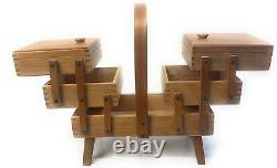 Vintage 3 Tier Fold Out Accordion Wood Dovetail Sewing Box Made Romania