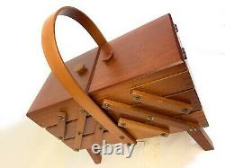 Vintage 3 Tier Fold Out Accordion Wood Dovetail Sewing Box Made in Romania