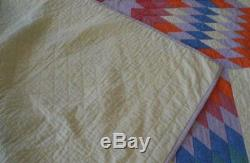 Vintage 30s Lone Star Quilt Yellow Purple Red Hand Stitched Quilted Cotton