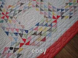 Vintage 30s Red & White Tiny Pieces Ocean Waves Quilt 79x70