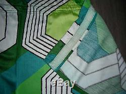 Vintage 60s 70s large long pair geometric optical abstract curtains