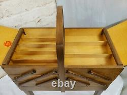 Vintage A. S Strommen Sewing Box Accordion Fold Out Norway