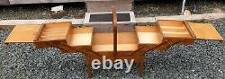 Vintage Accordion Fold Out 3 Tier Wooden Sewing Box Basket Bruk Hamar Norway