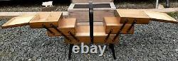 Vintage Accordion Fold Out 3 Tier Wooden Sewing Box Basket Dovetail Corner Joint