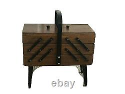 Vintage Accordion Style 3 Tier Wooden Sewing Box Storage Basket Dovetail Exc+