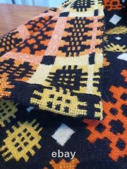 Vintage Double Sided Hand Woven Welsh Tapestry Blanket. Folk Craft/ThrowithWool