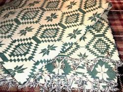 Vintage Green And Cream Welsh Blanket 102x88inches