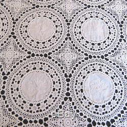 Vintage Hand Embroidered Tablecloth Crochet Lace Floral 64 x 102