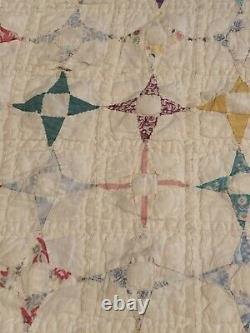 Vintage Hand Made Stitched Sewn 4 Point Star Quilt Feed sack 81 x 65 patchwork