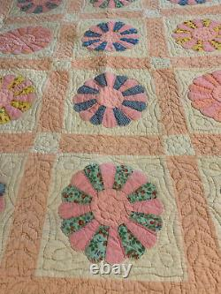 Vintage Hand Stitched Quilt Dresden Plate 1930s Feed Sack Cotton