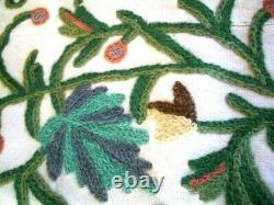 Vintage Hand embroidered LARGE Cotton bedspread/throw wool Crewel work 110 x72